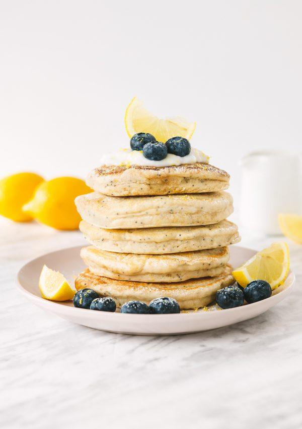 Fluffy Vegan Lemon Poppyseed Pancakes