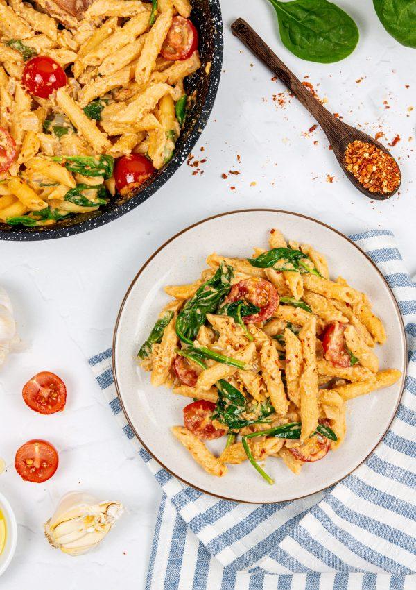 Vegan Spicy Hummus Pasta | Dishing Up Plants