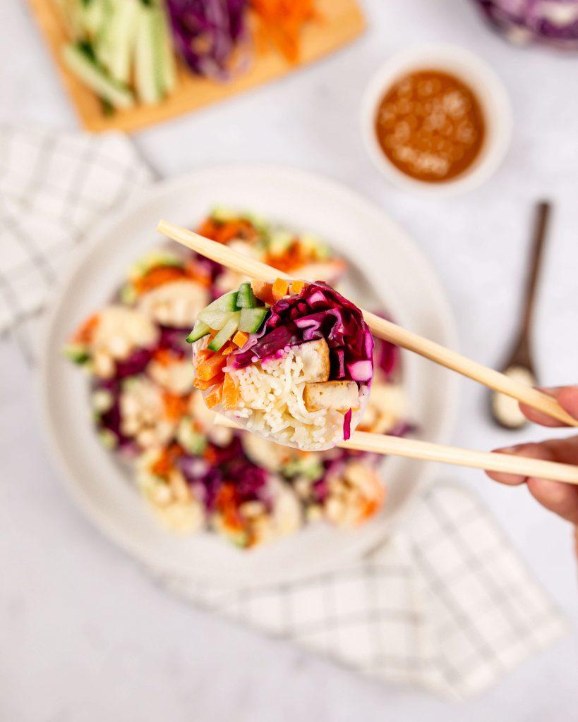 Tofu rice paper rolls with tahini dipping sauce