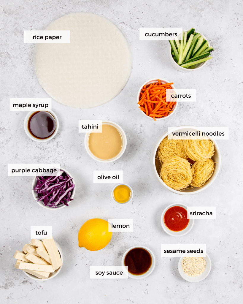 Tofu rice paper rolls with tahini dressing